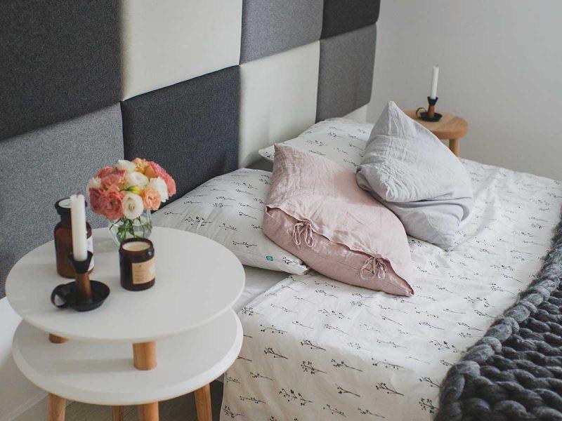styl skandynawski w sypialni, pościel gałązki MUMLA