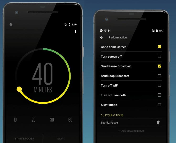 Sleep timer (turn music off) to jedna z prostszych aplikacji do zasypiania